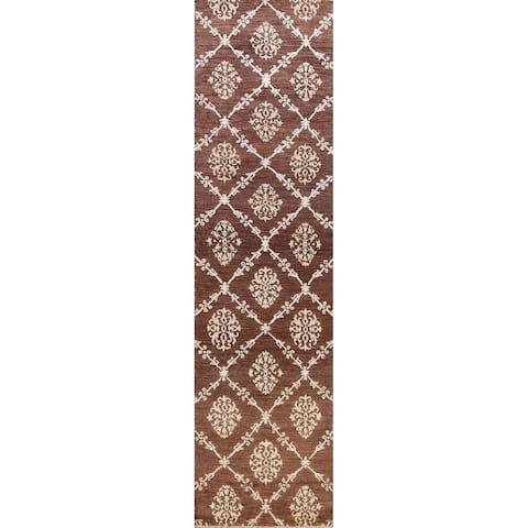 "Modern Geometric Gabbeh Kashkoli Oriental Runner Rug Wool Handmade - 2'7"" x 10'1"""