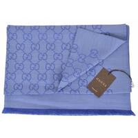 "Gucci Women's 165903 Large Lightweight Blue Wool Silk GG Guccissima Scarf - 78"" x 28"""