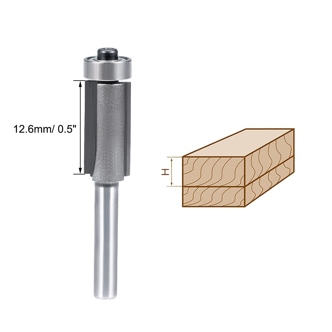 "Details about  /Router Bit 1//2 Shank 1//4/"" Cut Dia 25mm Depth Flush Trim Bit Bearing HSS Milling"