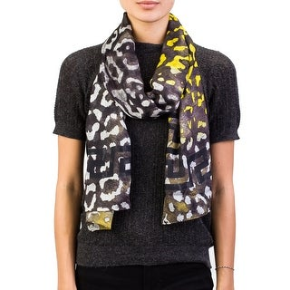 Versace Women's Tribal Border Pattern Modal Cashemere Blend Scarf Grey Large