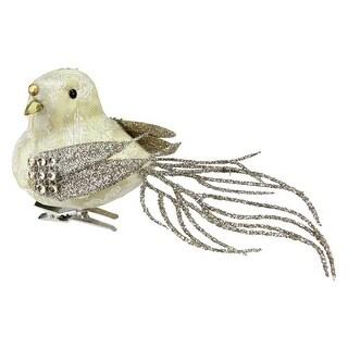 "6.5"" Sequence and Glitter Decorative French Vanilla Bird Clip Ornament - N/A"