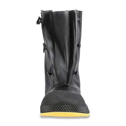 Servus 12 in. PVC Dual-Compound Mens Overboots, Black & Yellow