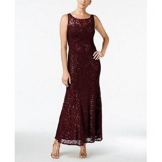 SLNY Fig Purple Women's Size 10 Sequin Illusion Lace Gown Dress