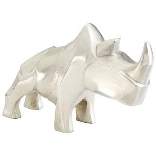 Cyan Design 09725  Ricky Rhino Aluminum Rhinoceros Statue - Raw Nickel