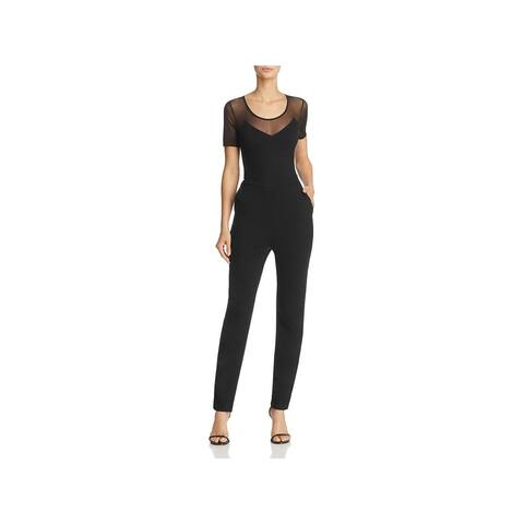 baa80fd7ef4 French Connection Womens Francis Beau Jumpsuit Mesh Inset Short Sleeve - 12