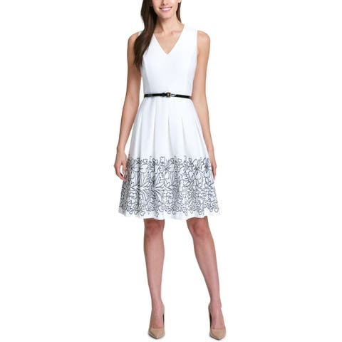 Tommy Hilfiger Womens Oahu Scuba Dress Embroidered Floral - 12