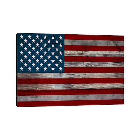"iCanvas ""USA Flag on Wood Boards (U.S. Constitution Background) I"" by iCanvas Canvas Print"