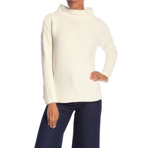 Catherine Malandrino Womens Sweater White Ivory Large L Turtleneck Mock
