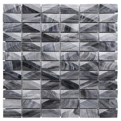 "TileGen. 1"" x 2"" 3D Cut Marble Mosaic in Gray Wall Tile (10 sheets/9.7sqft.)"