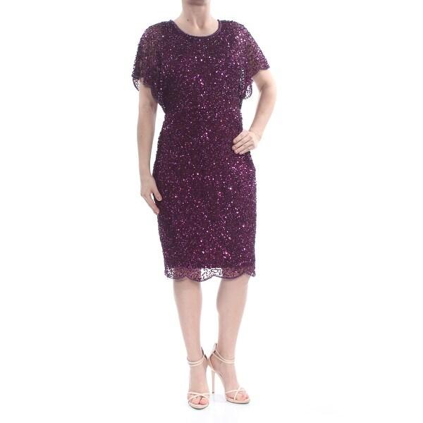0f512aa083 ADRIANNA PAPELL Womens Purple Sequined Scallop Trim Short Sleeve Jewel Neck  Midi Shift Evening Dress Size: 6