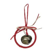 """5.5"""" Red Wreath with Bow and Jingle Bell Christmas Ornament"""