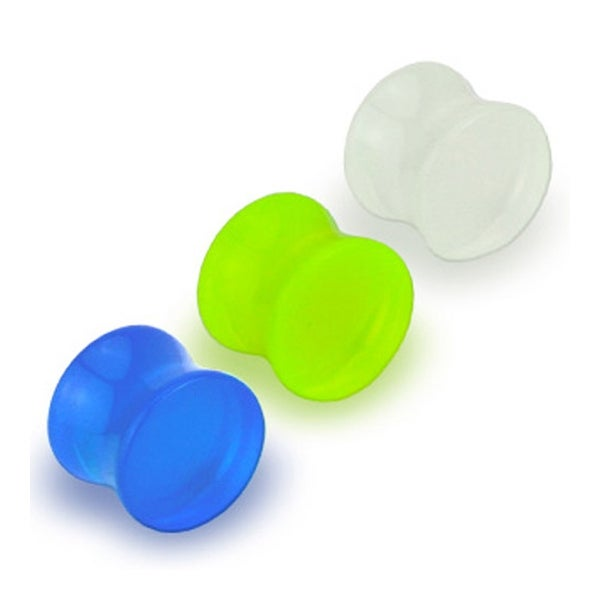 Glow in the Dark Double Flared Acrylic Saddle Plug (Sold Individually)