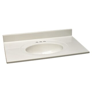 """Design House 551952 43"""" Marble Drop-In Vanity Top with Integrated Sink and 3 Faucet Holes - White on White"""