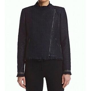 Tommy Hilfiger NEW Blue Women's Size 10 Asymmetric Fringe Jacket