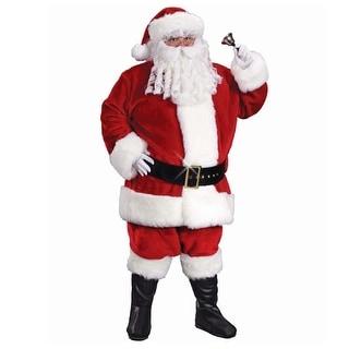 Red and White Regency Plush Santa Claus Men Christmas Costume Suit - XL - x-large