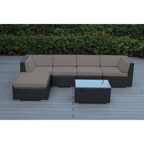 Ohana Outdoor Patio 6 Piece Black Wicker Sofa Sectional with Cushions