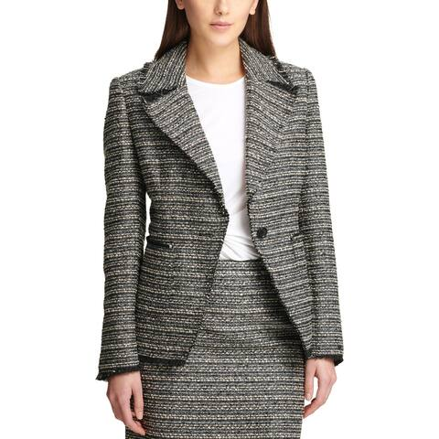 DKNY Womens One-Button Blazer Tweed Metallic