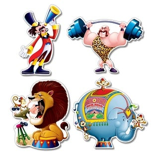 "Club Pack of 48 Multi-Colored Big Top Themed Circus Cutout Decorations 14"" - Multi"