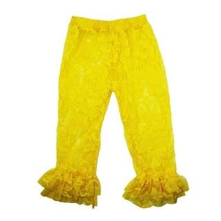 Little Girls Yellow Rose Lace Elastic Waist Double Ruffle Cuff Pants 2T-6