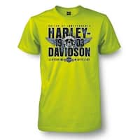 Harley-Davidson Men's Prophet Winged Skull Short Sleeve T-Shirt, Safety Green