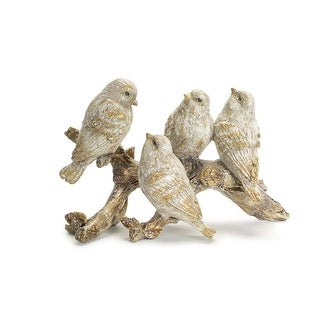 Pack of 3 Gold and Brown Glittered Sparrows on a Branch Figurines 11