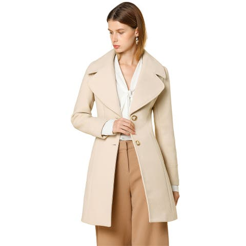 Women's Elegant Notched Lapel Button Down Outwear Winter Long Coat