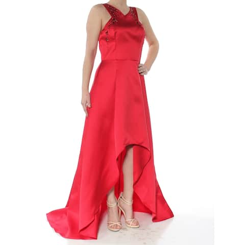 ADRIANNA PAPELL Red Sleeveless Above The Knee Hi-Lo Dress Size 2