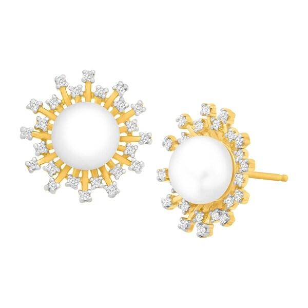 Freshwater Pearl & 1/5 ct Diamond Starburst Earrings in 14K Gold