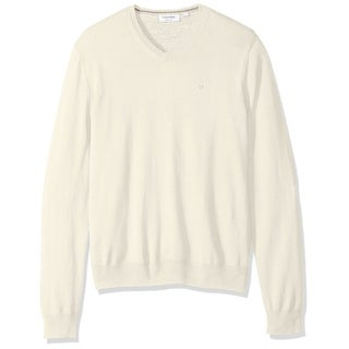 Calvin Klein NEW White Ivory Mens Size XL V-Neck Merino Wool Sweater
