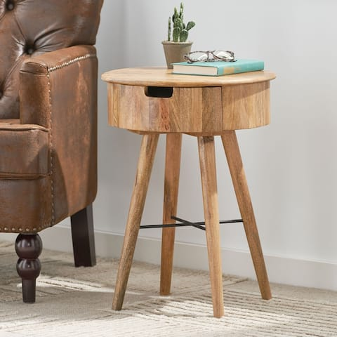 Powelton Indoor Mango Wood Handcrafted End Table with Drawer by Christopher Knight Home