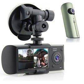"Indigi® New XR300 Car DVR Dual Camera DashCam (Front+Rear) G-Sensor Driving Recorder with 2.7"" Split Screen LCD w/ GPS Tracker"