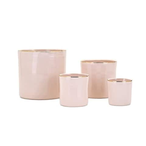 Set of 4 Pink Beatha Real Gold Trim Planters 8""