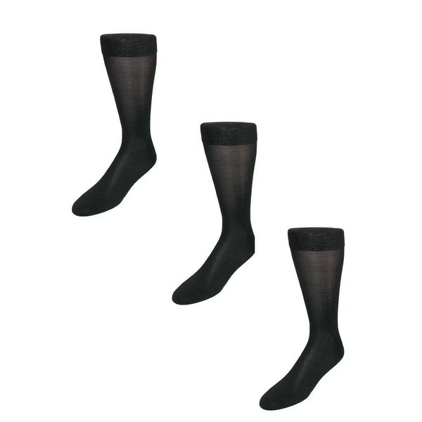 Windsor Collection Men's Silk Mid Calf Dress Socks (Pack of 3)
