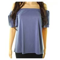 Soprano Gray Blue Womens Size Medium M Off-Shoulder Solid Blouse