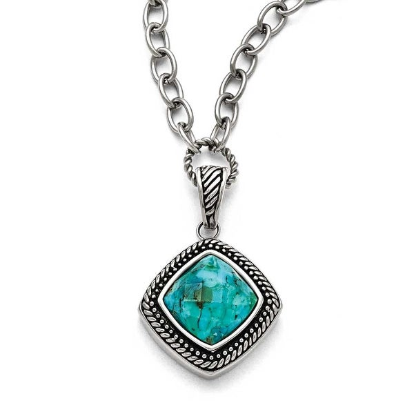 Chisel Stainless Steel Polished/Antiqued Imitation Turquoise with 2in ext. Necklace - 18 in