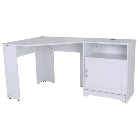 FOUNDATION White Corner Desk with Storage Cabinet