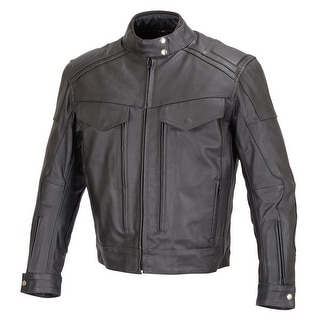 Men Motorcycle Biker Cruiser Leather Jacket Armor Black MBJ018