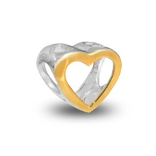 Bling Jewelry Gold Plated Open Heart Shaped Charm Bead .925 Sterling Silver