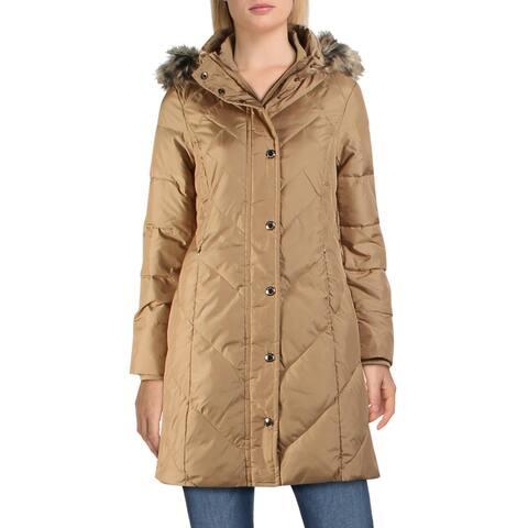 London Fog Women's Faux Fur Trim Warm Winter Down Coat