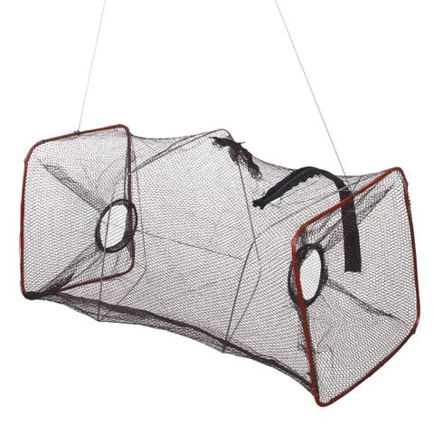 "Unique Bargains 2.8"" Nylon Metal Portable Fishing Landing Net Fish Angler Mesh Keepnet for Fishermen Crawfish Coffee"