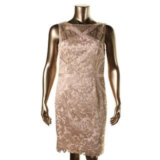 JS Collections Womens Mesh Metallic Cocktail Dress - 18