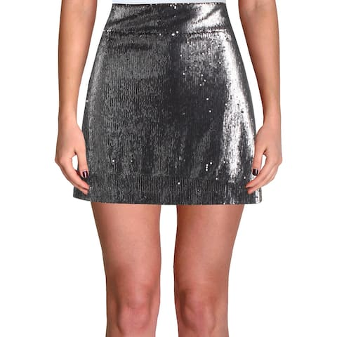 1.State Womens Mini Skirt Sequined Metallic - Silver - L