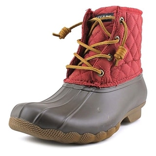 Sperry Top Sider Saltwater Quilt Women Round Toe Red Rain Boot