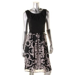 Connected Apparel Womens Stretch Floral Print Cocktail Dress - 12
