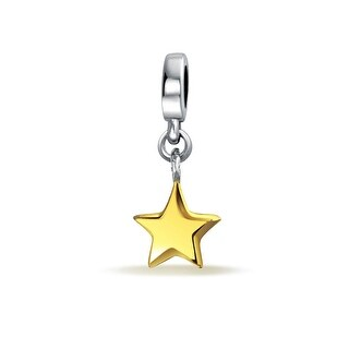Bling Jewelry gold plated Astrological Star Dangling Bead Charm .925 Sterling Silver