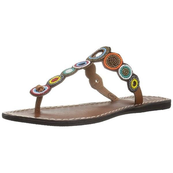 MIA Womens Apache Leather Split Toe Casual T-Strap Sandals