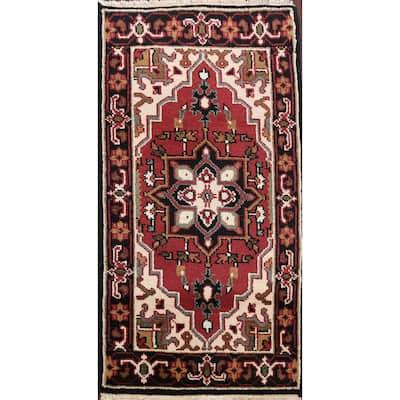 "Geometric Red Heriz Oriental Home Decor Area Rug Wool Hand-Knotted - 2'0"" x 4'0"""