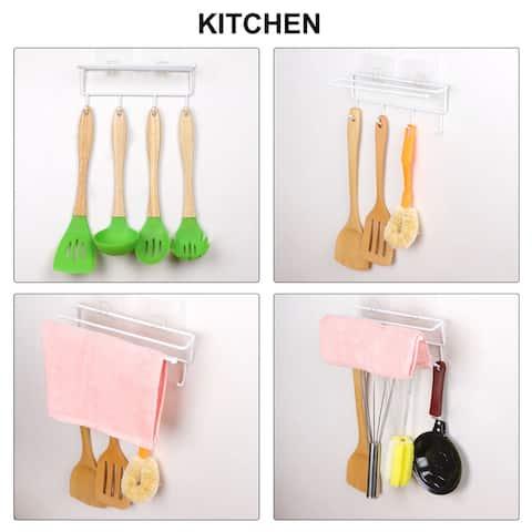 Wall Mount Roll Paper Towel Holder w Hooks for Bathroom, Kitchen, Garage