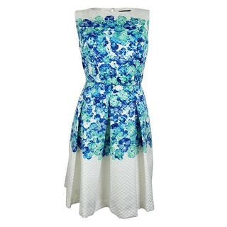 Tahari Women's Danni Jacquard A-Line Dress - white/turquoise/seaglass|https://ak1.ostkcdn.com/images/products/is/images/direct/0169ef2116dbaba1c89e36a039e448a7521a30bc/Tahari-Women%27s-Danni-Jacquard-A-Line-Dress.jpg?impolicy=medium