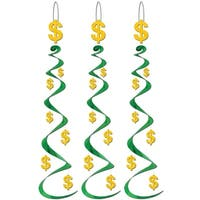 Club Pack of 18 Green and Yellow Dollar Sign Whirl Hanging Decorations 30""